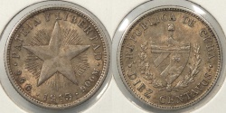 World Coins - CUBA: 1915 10 Centavos