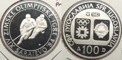 World Coins - YUGOSLAVIA: 1982 1984 Olympics Hockey proof 100 Dinara