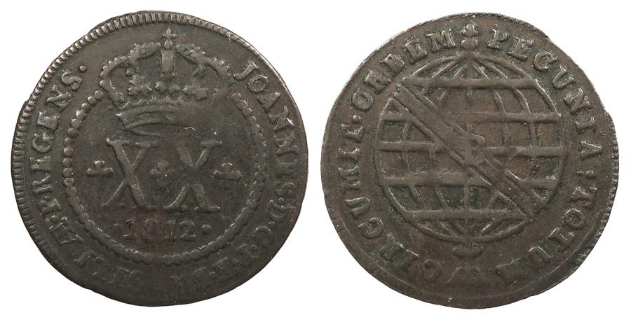 World Coins - BRAZIL Joao, Prince Regent 1812-B Contemporary counterfeit 20 Reis VF