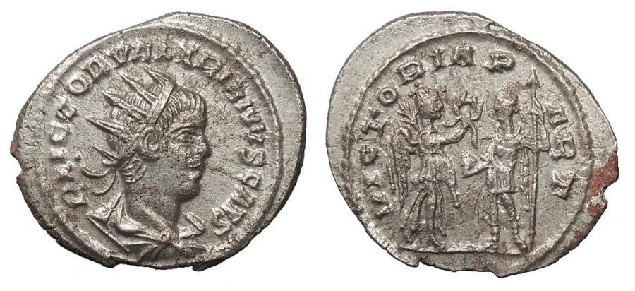 Ancient Coins - Valerian II, as Caesar 253-255 A.D. Antoninianus Antioch Mint EF