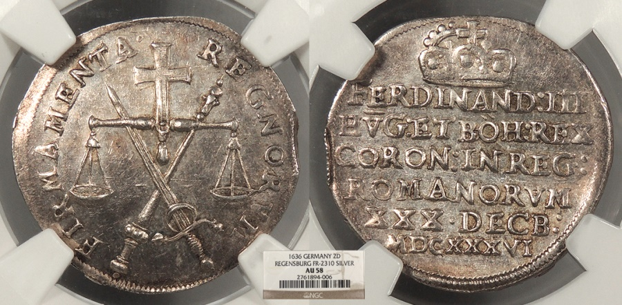 World Coins - GERMAN STATES Regensburg Free City 1636 Silver 2 Ducats NGC AU-58