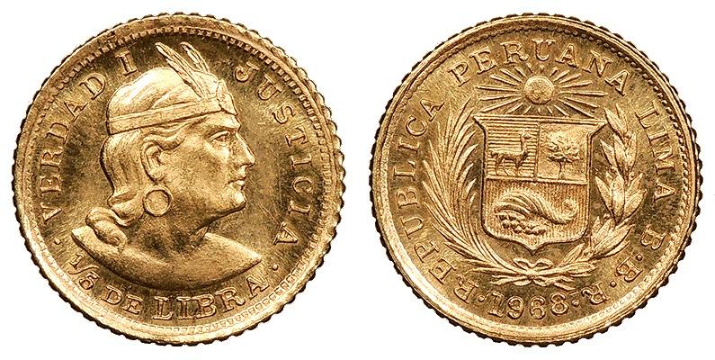 World Coins - PERU 1968-BBR 1/5 Libra BU