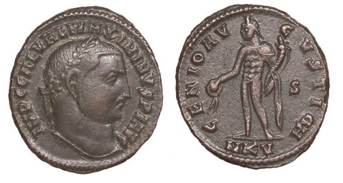 Ancient Coins - Maximinus II 309-313 A.D. Follis Cyzicus Mint Good VF