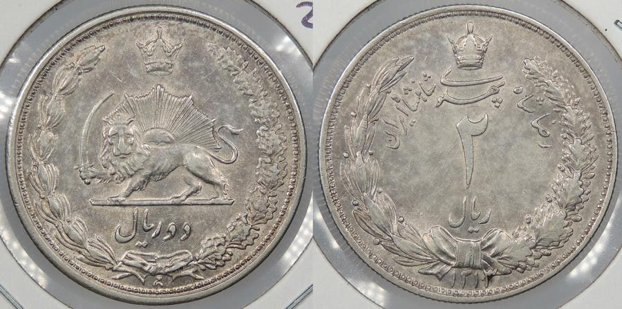 World Coins - IRAN: SH 1313/0 (1934) Re-punched date. 2 Rials