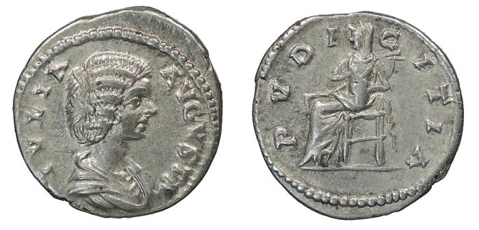 Ancient Coins - Julia Domna, wife of Septimius Severus 193-211 A.D. Denarius Laodicea ad Mare Mint Good VF