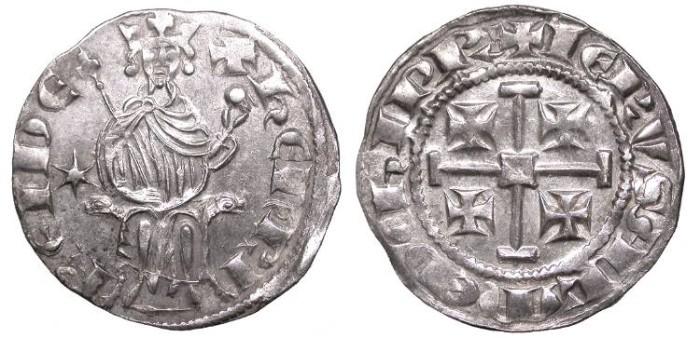 World Coins - CRUSADERS Henri II, Second Reign 1310-1324 Gros Grand Superb EF