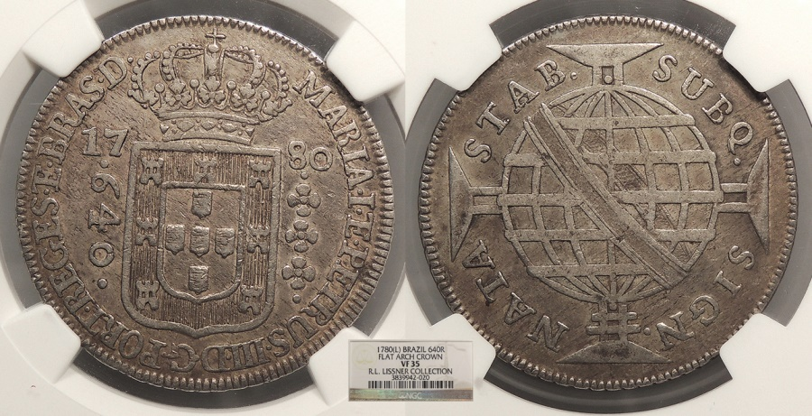 World Coins - BRAZIL Maria I and Pedro III 1780 640 Reis NGC VF-35