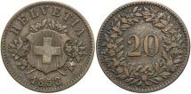 World Coins - SWITZERLAND: 1858-B 20 Rappen