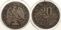 World Coins - MEXICO: 1901-Mo M 20 Centavos
