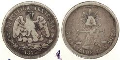 World Coins - MEXICO: 1877-Zs S 50 Centavos