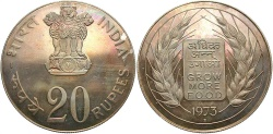 World Coins - INDIA: 1973-B FAO 20 Rupees