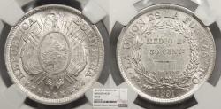 World Coins - BOLIVIA 1891-PTS CB 50 Centavos (Medio Boliviano) NGC MS-63
