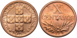 World Coins - PORTUGAL: 1953 10 Centavos