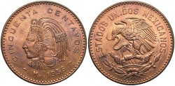 World Coins - MEXICO: 1956-Mo 50 Centavos