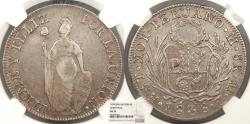 World Coins - PERU North Peru Estado Nor-Peruano 1838-LIMAE MB 8 Reales NGC AU-53