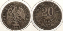 World Coins - MEXICO: 1901-Mo M 20 Centavos