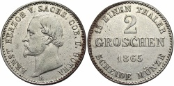 World Coins - GERMAN STATES: Saxe-Coburg-Gotha 1865 2 Groschen