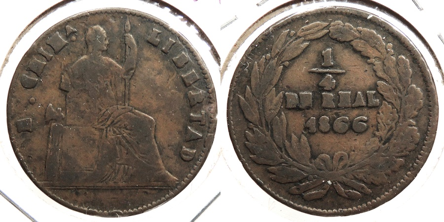 World Coins - MEXICO: Chihuahua 1866 1/4 Real