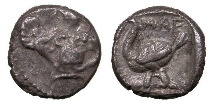Ancient Coins - Cilicia Mallos Circa 440-390 B.C. Obol VF