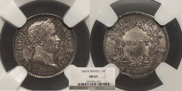 World Coins - FRANCE Napoleon as Emperor 1809-A Quart de Franc (1/4 Franc) NGC MS-63