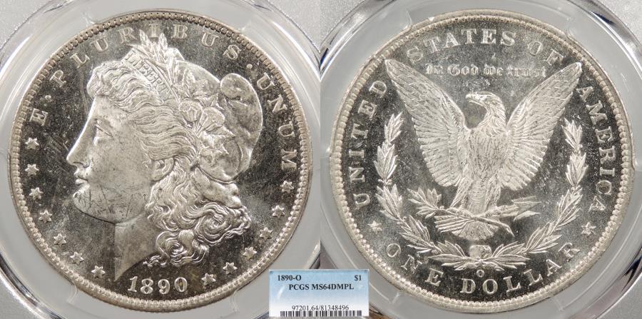 US Coins - 1890 O Morgan 1 Dollar (Silver) PCGS MS-64 DMPL