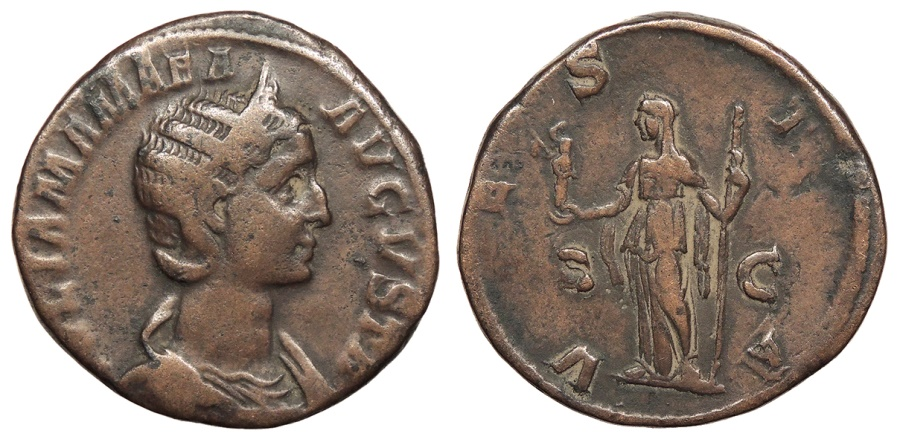 Ancient Coins - Julia Mamaea, mother of Severus Alexander 222-235 A.D. Sestertius Rome Mint VF
