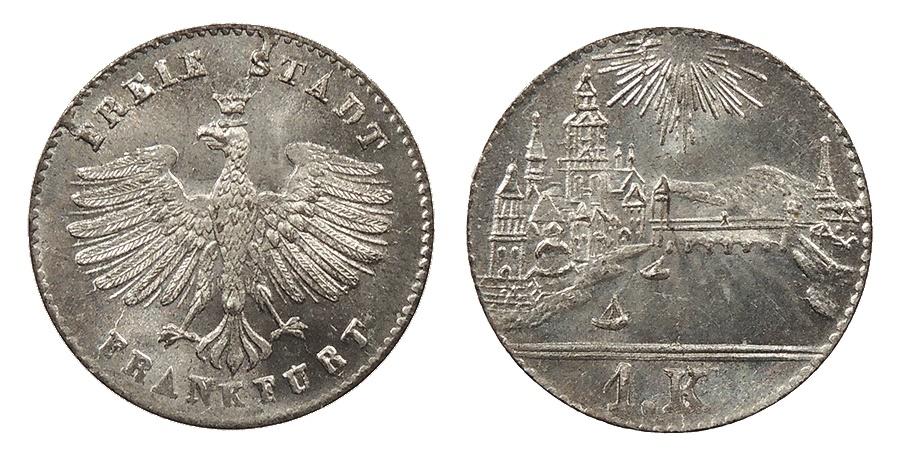 World Coins - GERMAN STATES Frankfurt Free City ND (1839) Kreuzer BU