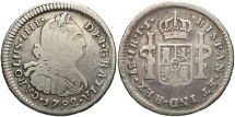 World Coins - PERU: Carlos IV 1792-LIMAE IJ 1 Real