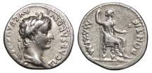 Ancient Coins - Tiberius 14-37 A.D. Denarius Rome Mint VF