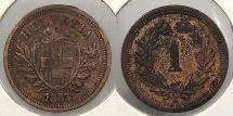 World Coins - SWITZERLAND: 1883-B Rappen