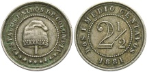 World Coins - COLOMBIA: 1881 2 1/2 Centavos