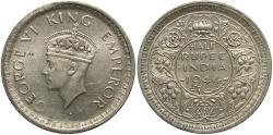 World Coins - INDIA: 1944-L 1/2 Rupee