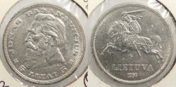 World Coins - LITHUANIA: 1936 5 Litai