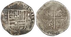 World Coins - SPAIN Felipe (Philip) II 1595/4-G oF Cob 4 Reales VF