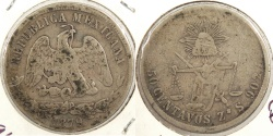 World Coins - MEXICO: Zacatecas 1879-Zs S Flat-top 7 50 Centavos #WC63396