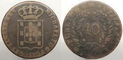 World Coins - PORTUGAL: 1829 40 Reis (Pataco)