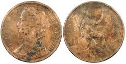 World Coins - GREAT BRITAIN Victoria 1875-H Penny VF