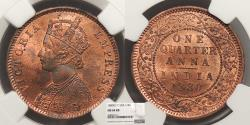 World Coins - INDIA Victoria 1880 1/4 Anna NGC MS-64 RB