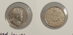World Coins - CANADA: 1910 Pointed leaves. 5 Cents