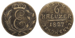 World Coins - GERMAN STATES Saxe-Coburg-Gotha Ernst I 1827-G Contemporary counterfeit 6 Kreuzer Fine