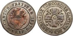 World Coins - SWISS CANTONS: Freiburg 1827 5 Rappen
