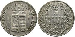 World Coins - GERMAN STATES: Saxe-Meiningen 1840 3 Kreuzer