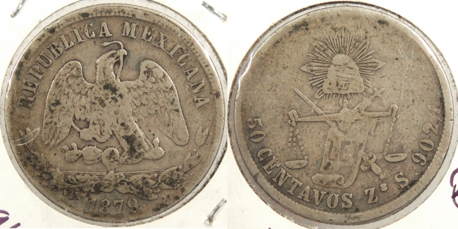 World Coins - MEXICO: Zacatecas 1879-Zs S Flat-top 7 50 Centavos #WC63396