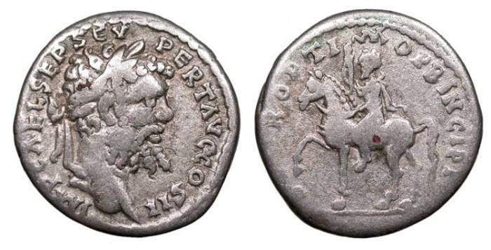 Ancient Coins - Septimius Severus 193-211 A.D. Denarius Emesa Mint Good Fine