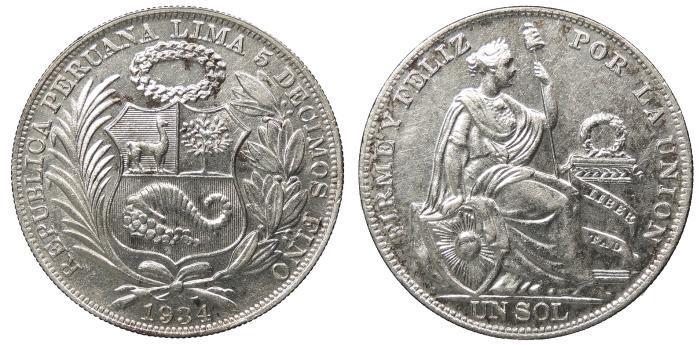 World Coins - PERU Republic 1934 Sol Choice AU