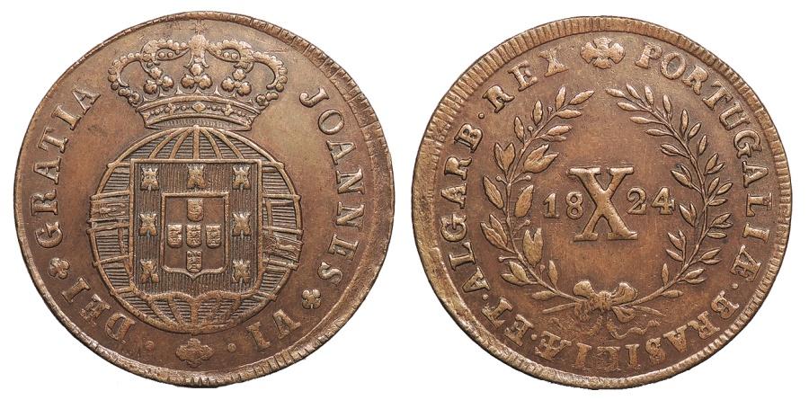 World Coins - PORTUGAL D. Joao VI 'o Clemente' 1824 10 Reis AU