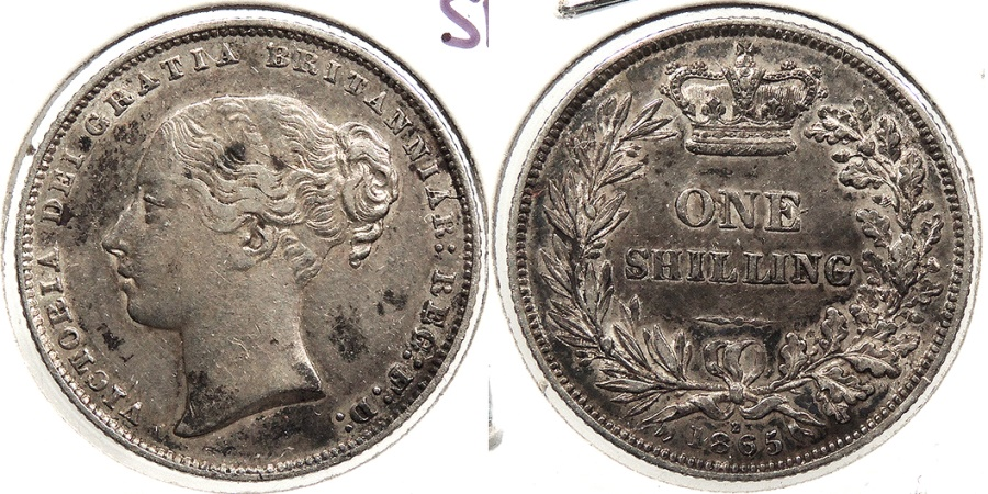 World Coins - GREAT BRITAIN: 1865 die 2 Shilling