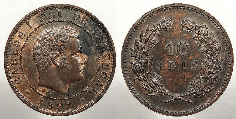 World Coins - PORTUGAL: 1892 10 Reis