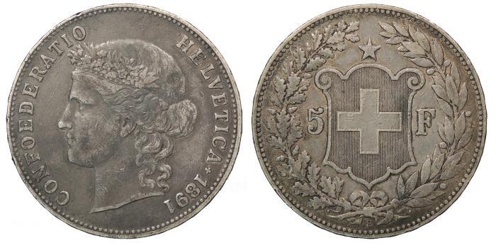 World Coins - SWITZERLAND Confederation 1891-B 5 Francs VF