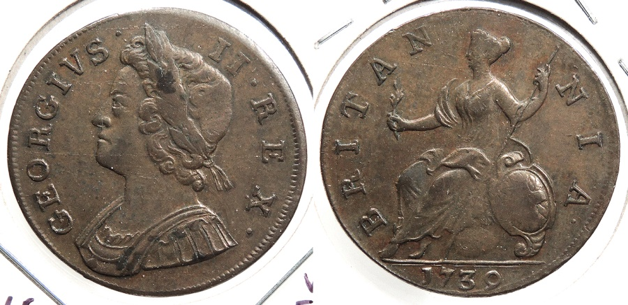 World Coins - GREAT BRITAIN: 1739 Halfpenny